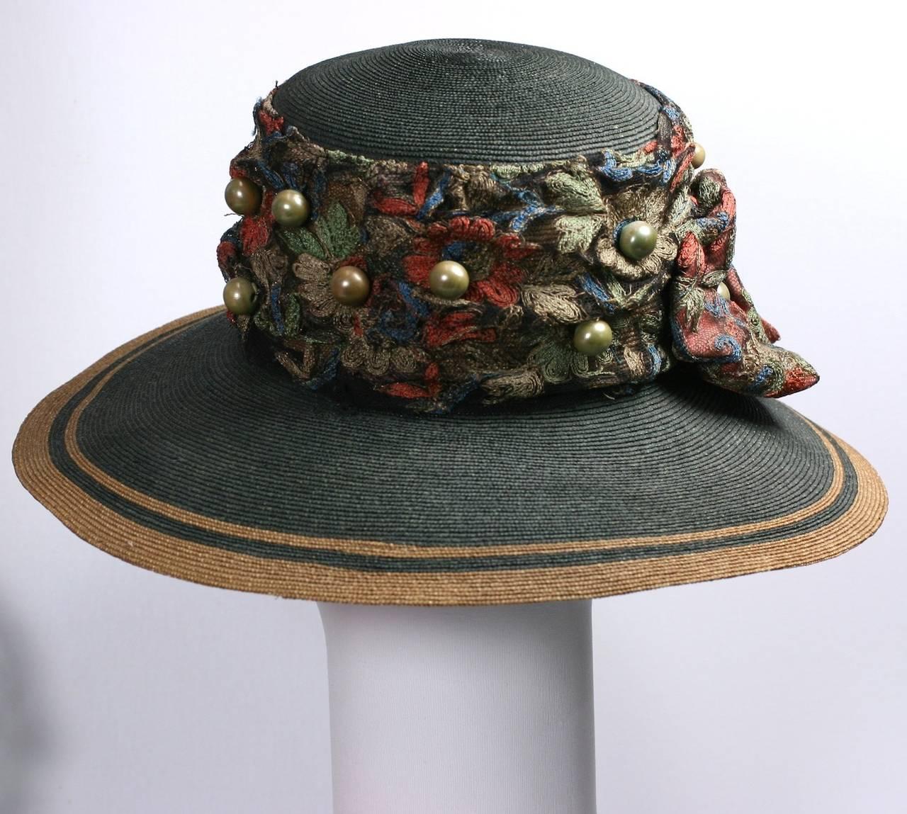 Black Edwardian Straw Afternoon Hat For Sale