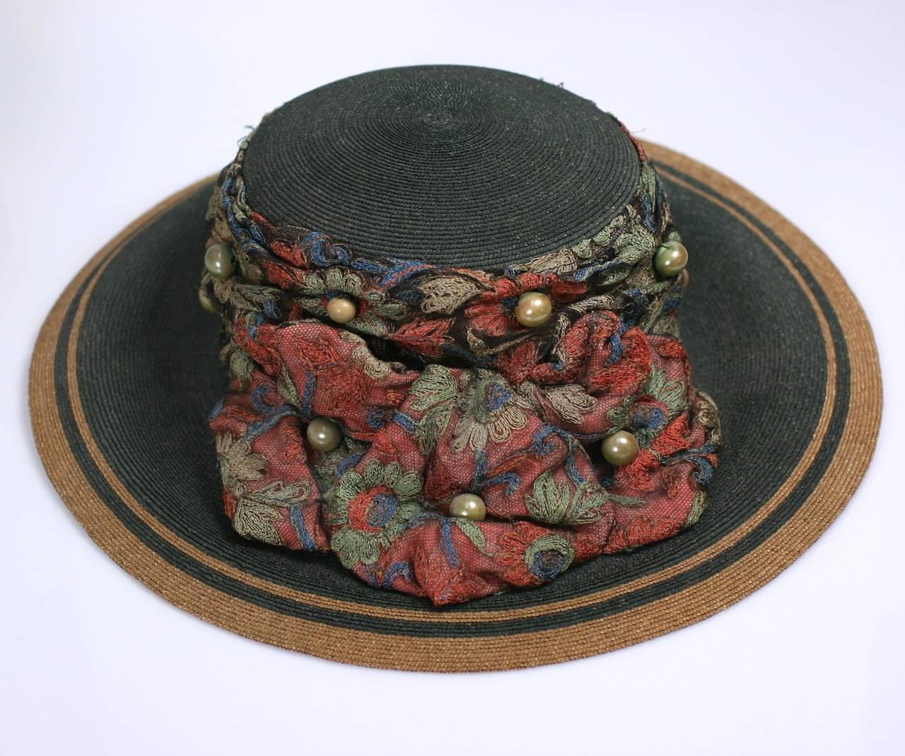 Edwardian Straw Afternoon Hat In Excellent Condition For Sale In Riverdale, NY