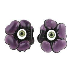 Amethyst Poured Glass Poppy Earrings