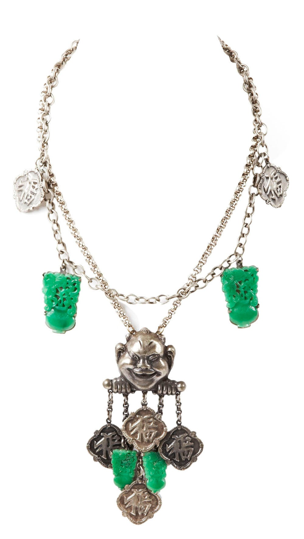 """Chinese style Art Deco grinning buddha necklace  of antique silvered metal with faux imperial jade peking glass charms and Chinese money fobs. 1940's USA. Shortest length 16"""", Drop 4.5"""". Excellent condition."""