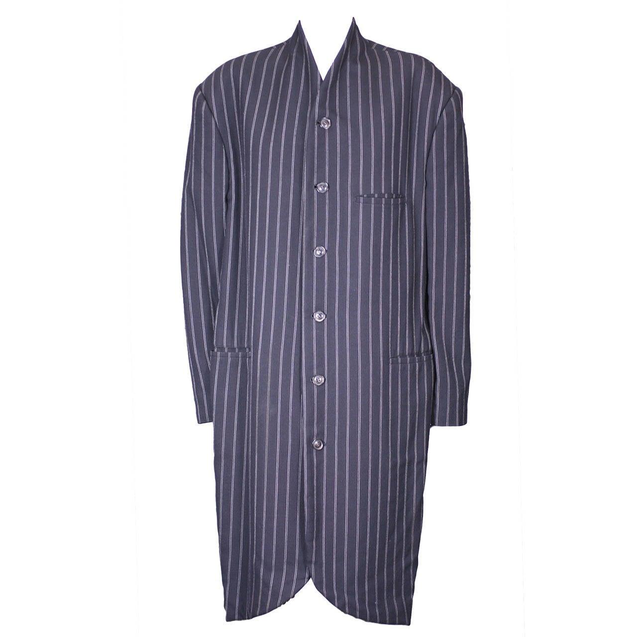 Yohji Yamamoto Elongated Pinstripe Coat