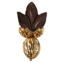 Miriam Haskell Gilt Walnut and Wood Leaf Dress Clip Brooch