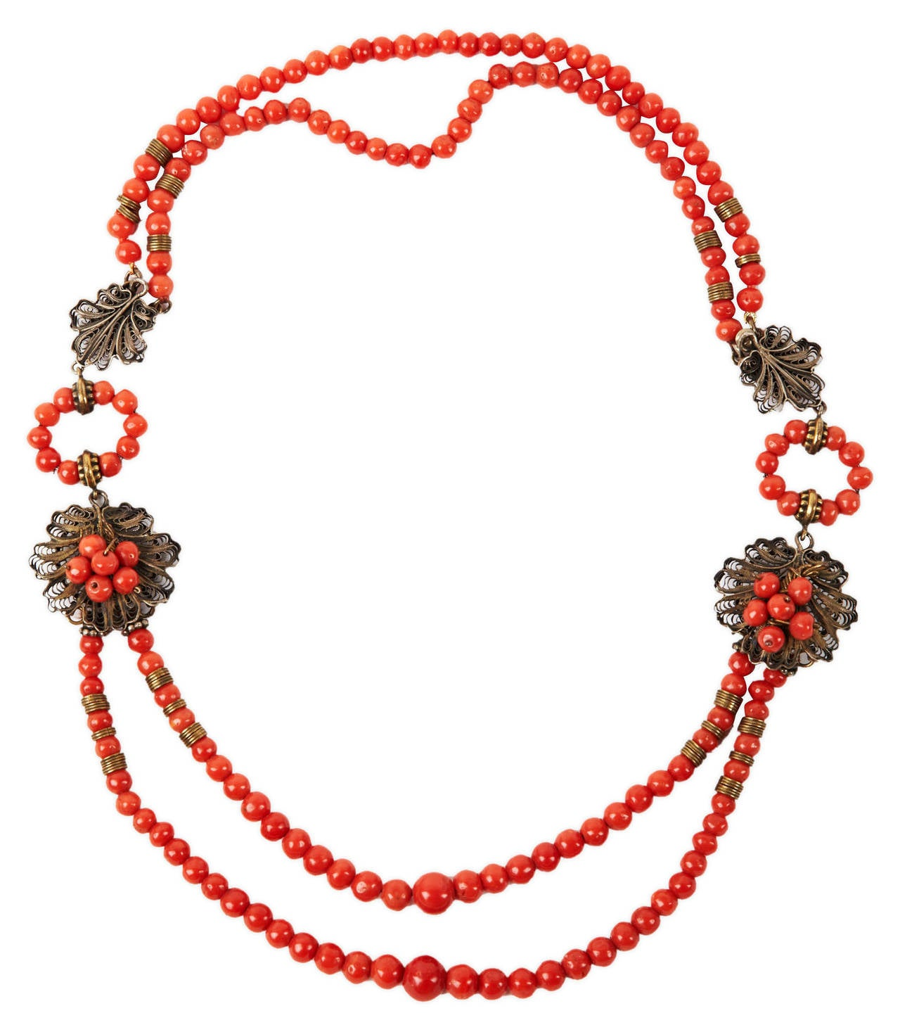 Antique Coral Filigree Necklace 2