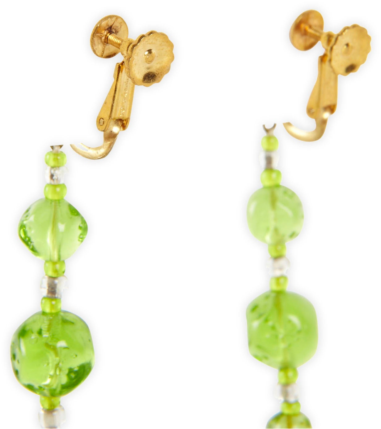 Miriam Haskell Green Vaseline Glass Long Earclips 2