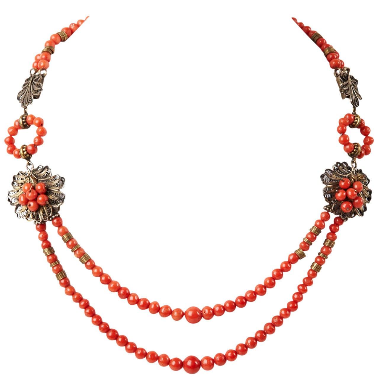 Antique Coral Filigree Necklace 1