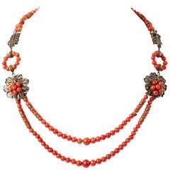 Antique Coral Filigree Necklace