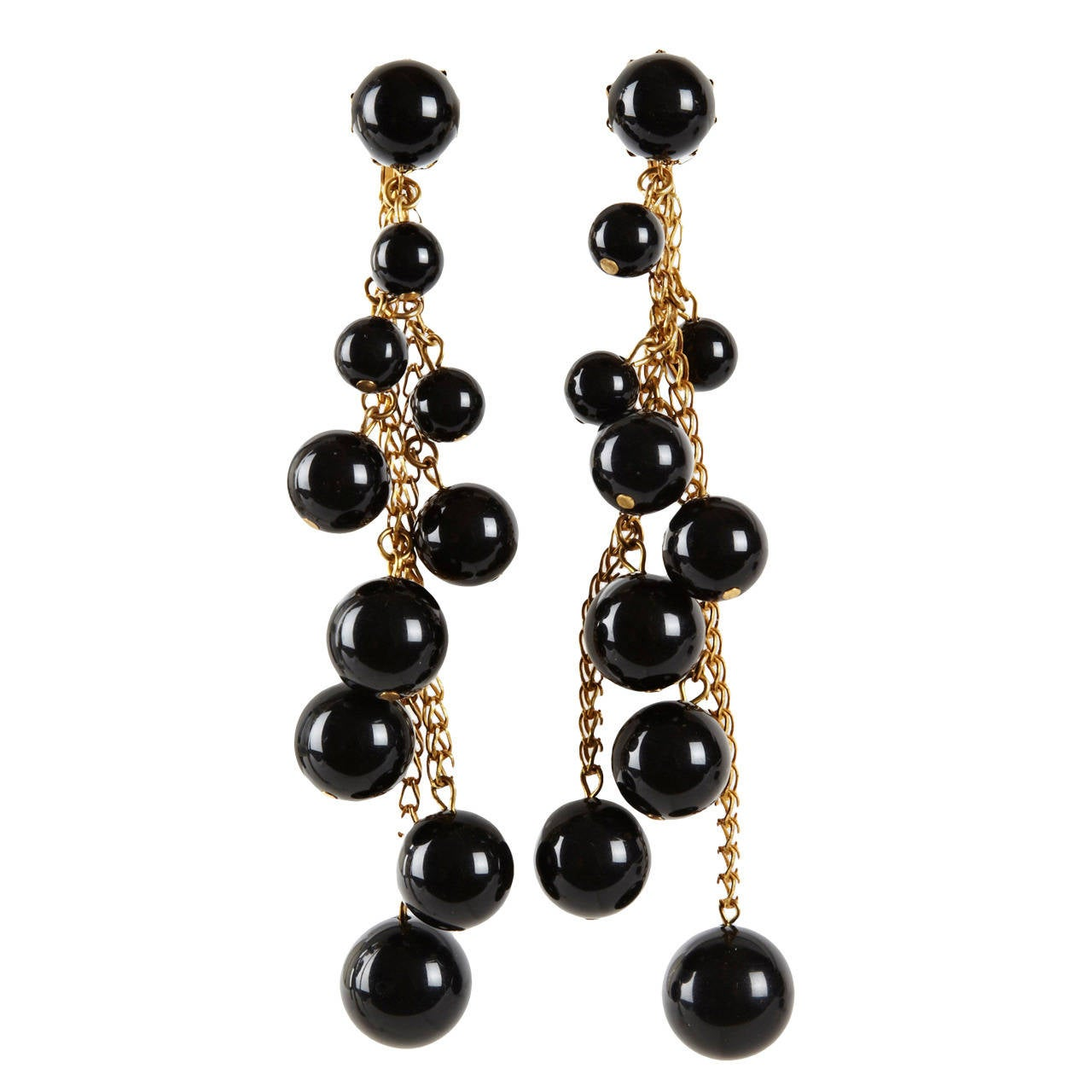 Miriam Haskell Black Bakelite Cascade Long Earrings At 1stdibs
