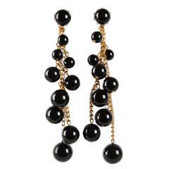 Miriam Haskell Black Bakelite Cascade Long Earrings