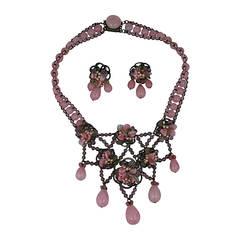 Rousselet Pate de Verre and Pearl Necklace Suite