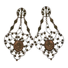 Massive 19th Century Georgian Gold Earrings