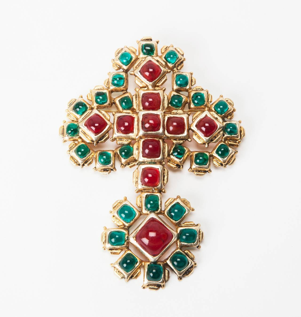 Massive Chanel Renaissance Cross Brooch/Pendant by Maison Gripoix, Paris. 