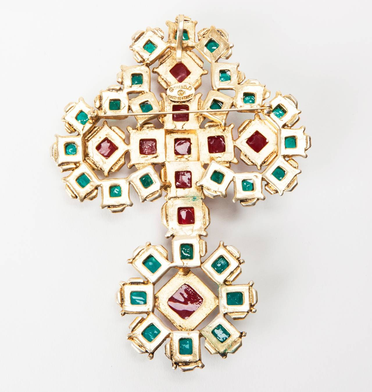 Massive Chanel Renaissance Cross Brooch/Pendant In Excellent Condition For Sale In Riverdale, NY