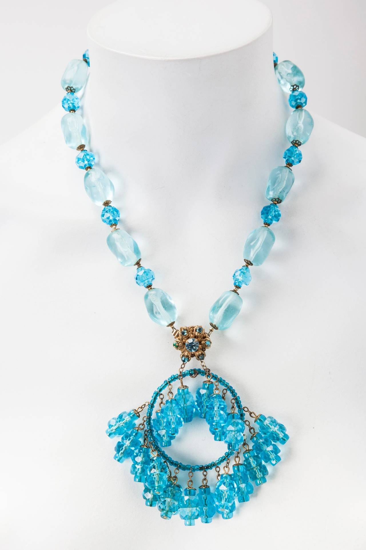 Miriam Haskell Aquamarine Moghul Necklace In Excellent Condition For Sale In Riverdale, NY