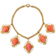Miriam Haskell Coral Cameo Necklace