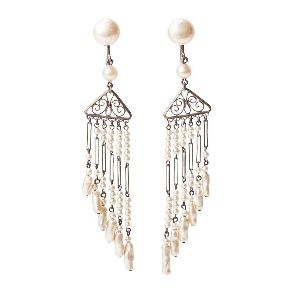 Art Deco Pearl Fringe Earrings For Sale