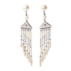 Art Deco Pearl Fringe Earrings
