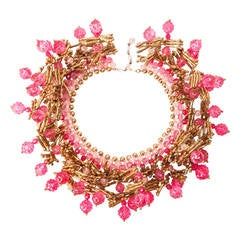 Italian Gilt Coral and Fuchsia Collar
