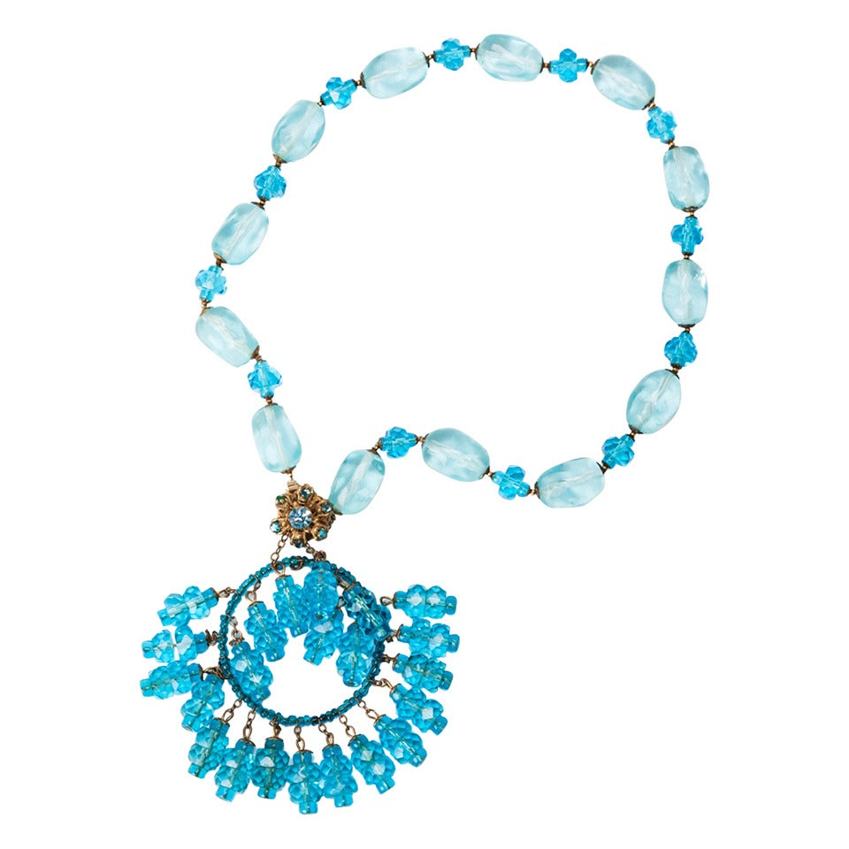 Miriam Haskell Aquamarine Moghul Necklace For Sale