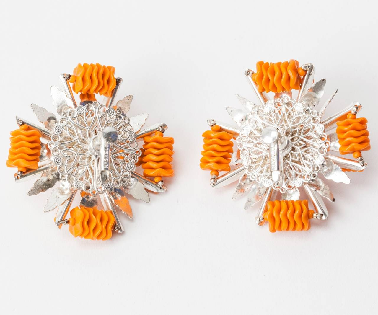 Miriam Haskell Orange Lucite and Silver Gilt Earrings 2