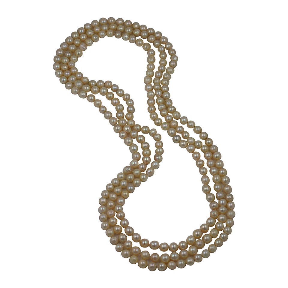 Triple Strand Cultured Pearl Necklaces For Sale