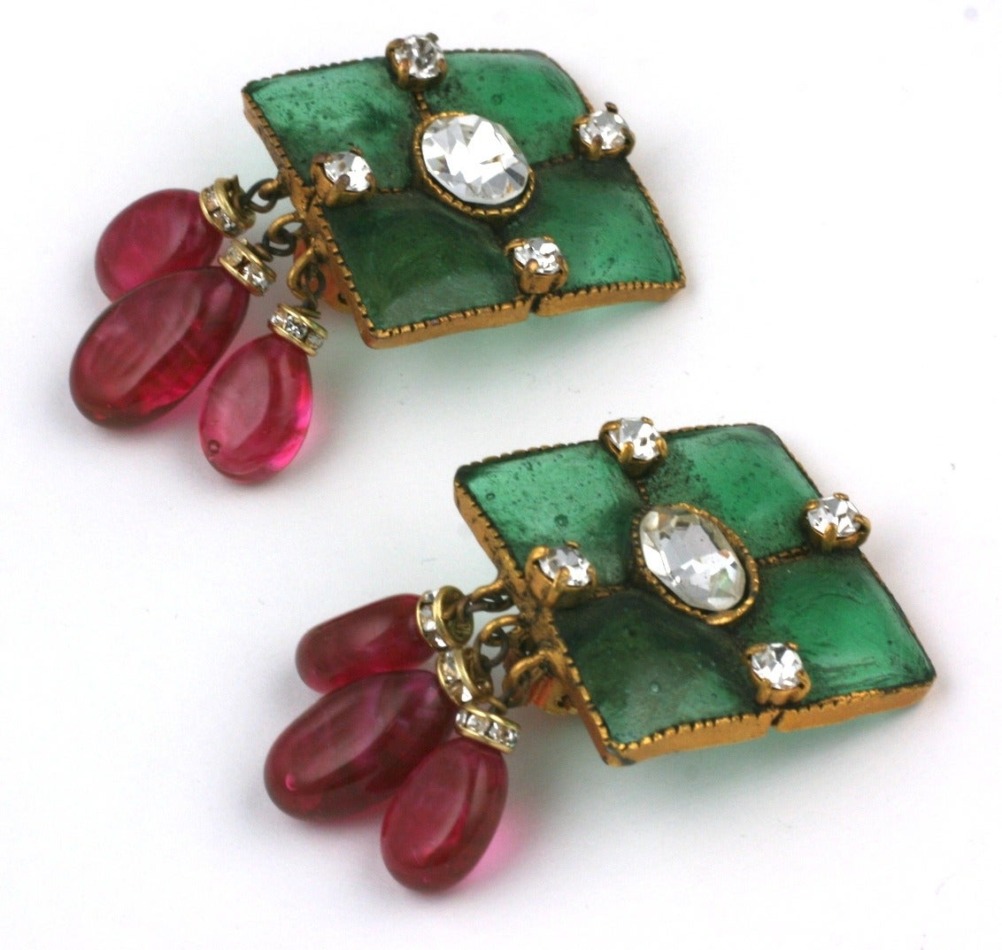 Vintage Gripoix Emerald and Ruby Drop Earclips 2