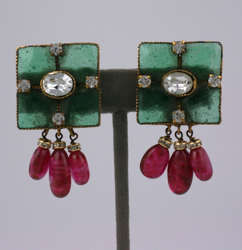 Vintage Gripoix Emerald and Ruby Drop Earclips 4