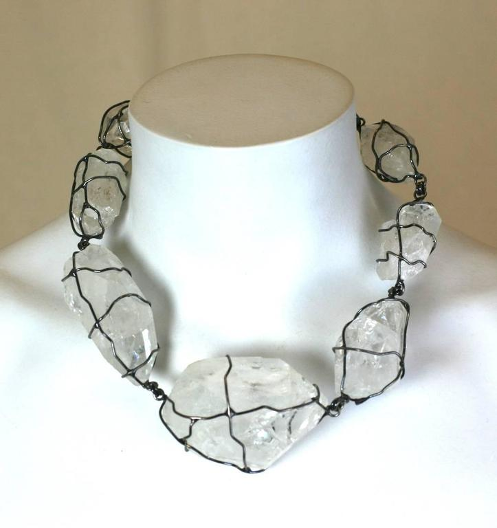 Ysl Gunmetal Wrapped Rock Crystal Necklace For Sale At 1stdibs