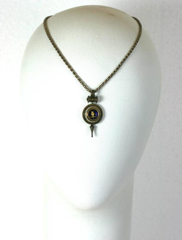 Victorian Revivalist Owl Pendant For Sale 2