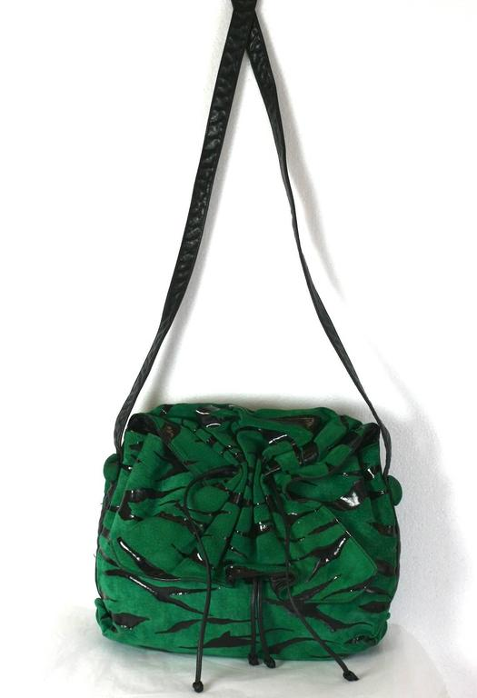 Women's Carlos Falchi Green Suede Gathered Shoulder Bag For Sale