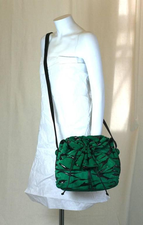 Carlos Falchi Green Suede Gathered Shoulder Bag For Sale 1