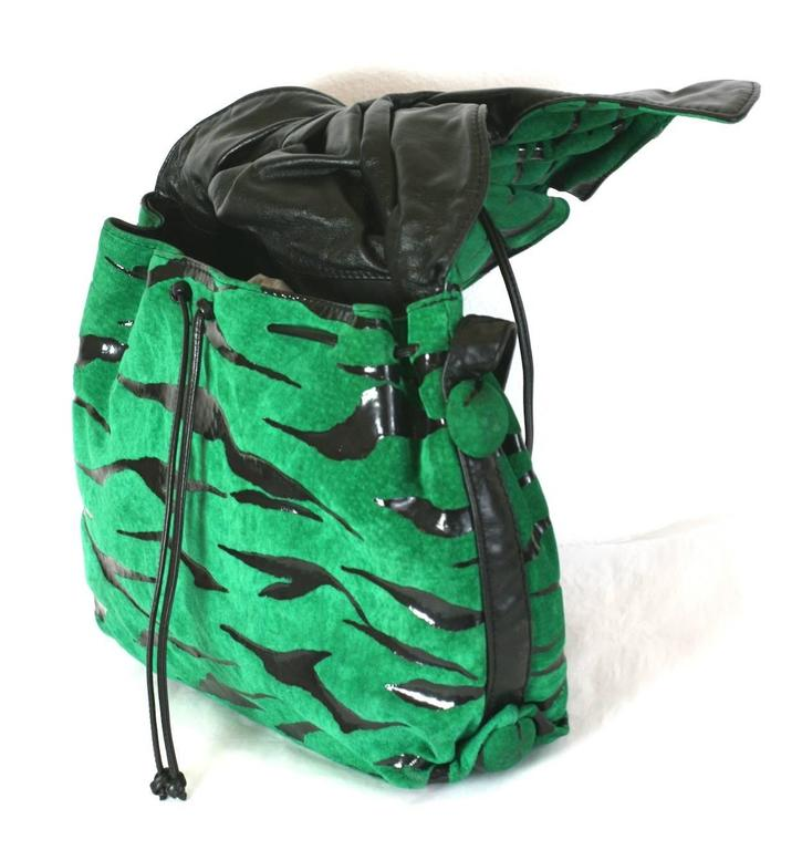 Carlos Falchi graphic green suede gathered shoulder bag with zebra print. Signature