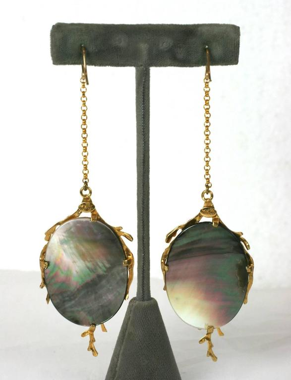 "White Mother of Pearl ""Seaweed"" Earrings, MWLC 2"