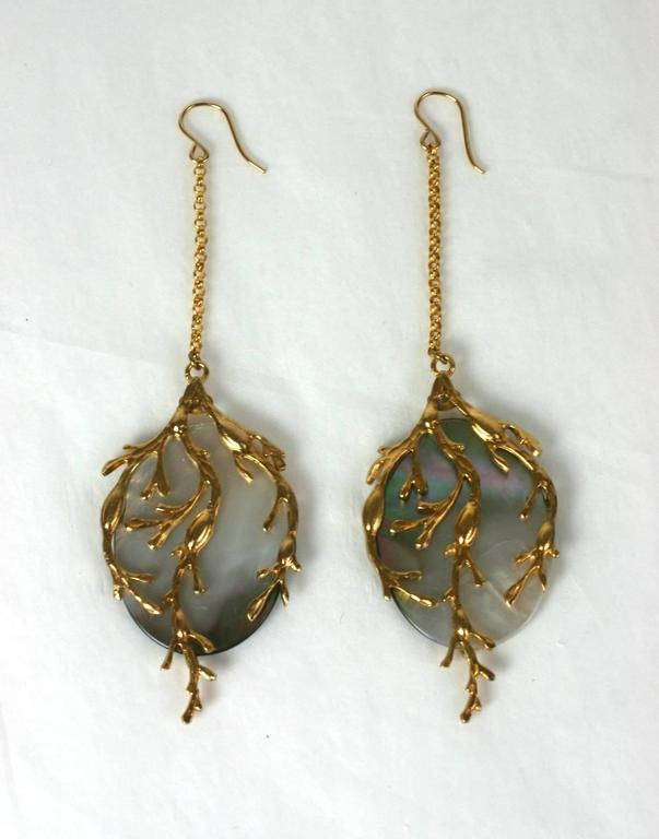 "White Mother of Pearl ""Seaweed"" Earrings, MWLC 3"