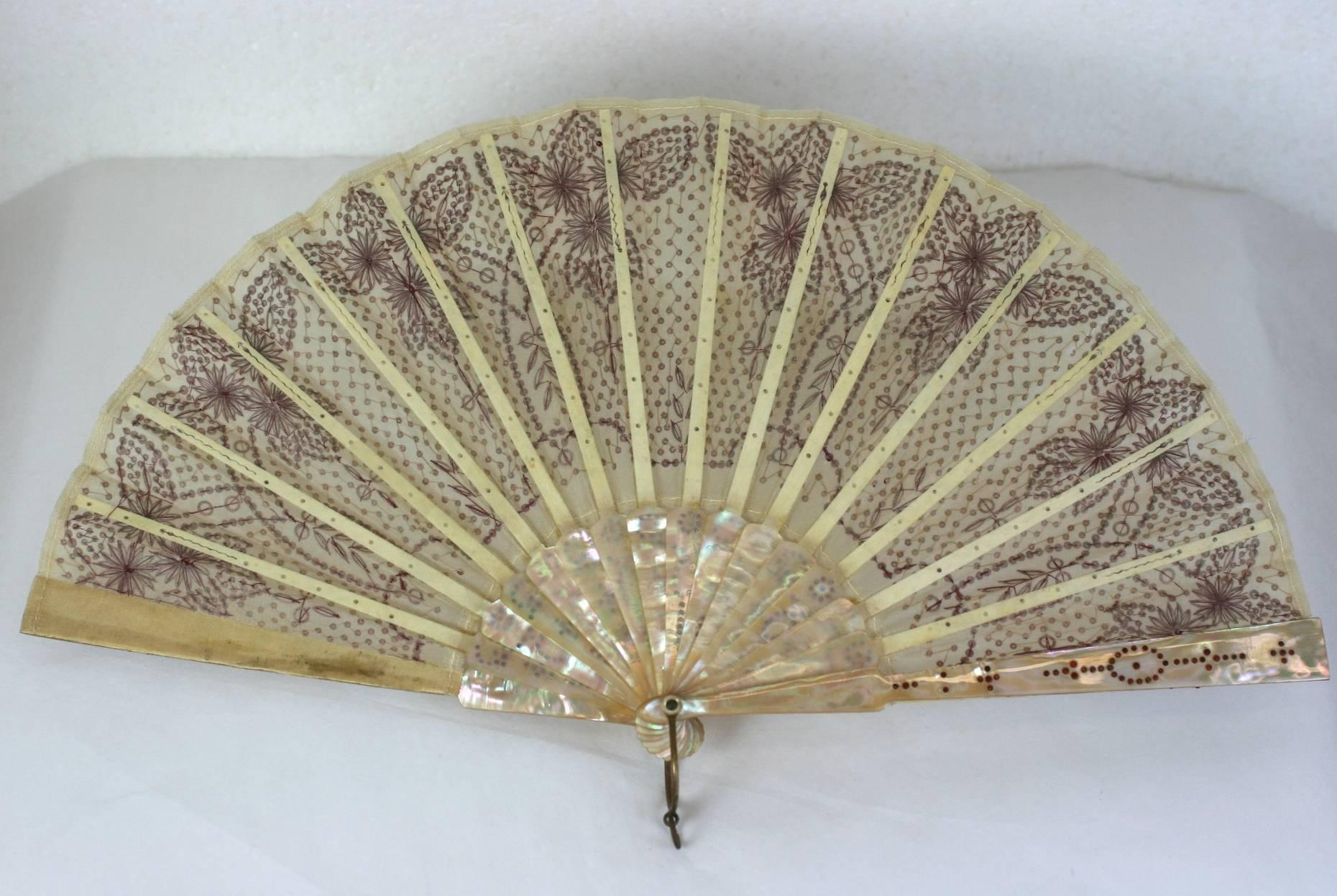1stdibs Victorian Rasberry Sequin Fan WnZjv