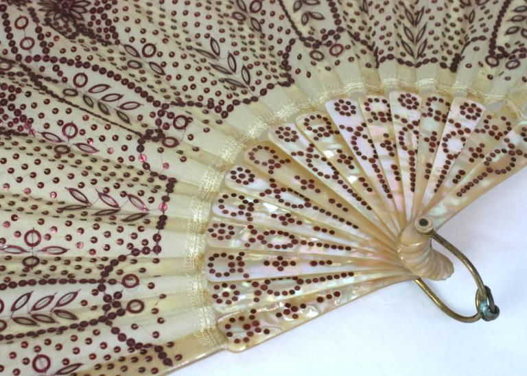 Victorian Rasberry Sequin Fan In Excellent Condition For Sale In Riverdale, NY