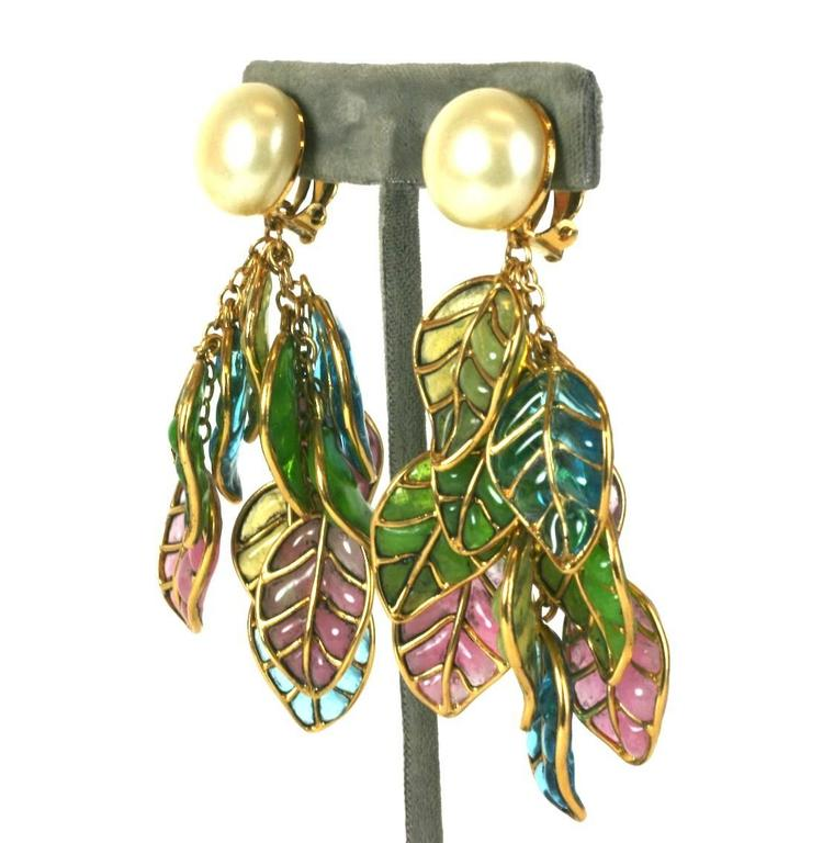 Chanel Pearl and Pastel Pate de Verre Leaf Earclips, Gripoix,  2