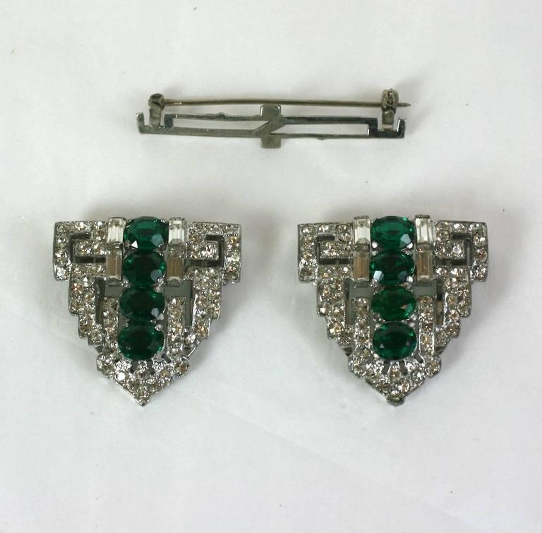 Trifari Art Deco Faux Emerald Clip Mate Brooch For Sale 1