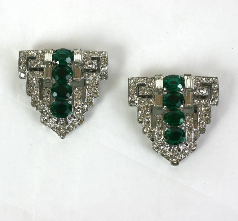Women's Trifari Art Deco Faux Emerald Clip Mate Brooch For Sale