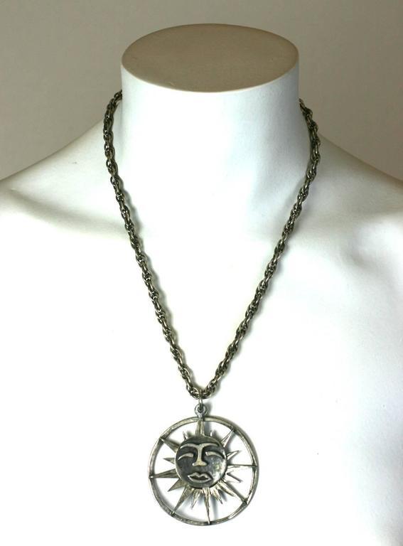 Women's or Men's Rebajes Sun Moon Pendant Necklace For Sale