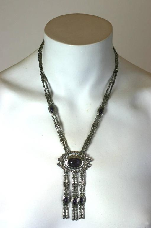 Silver and Amythest Edwardian Necklace 5
