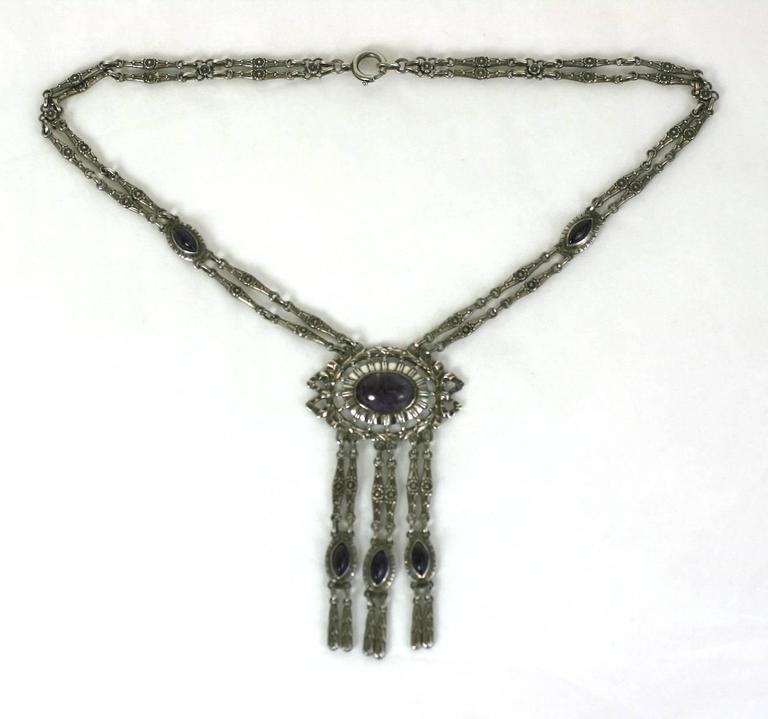 Silver and Amythest Edwardian Necklace 2
