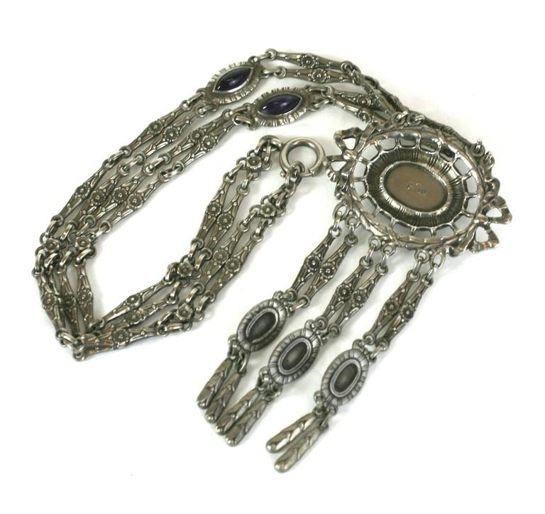 Silver and Amythest Edwardian Necklace 4