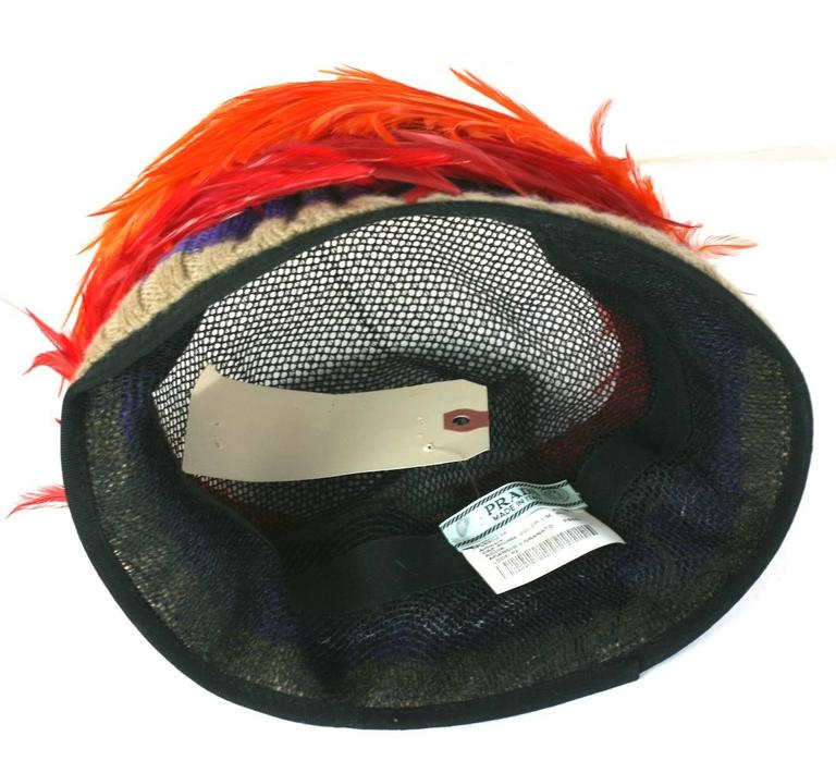 Prada Spring 2005, Exotic Feather Cloche Hat For Sale 1