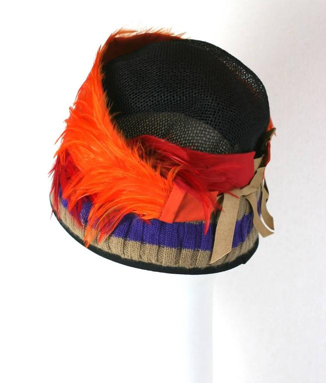 Red Prada Spring 2005, Exotic Feather Cloche Hat For Sale