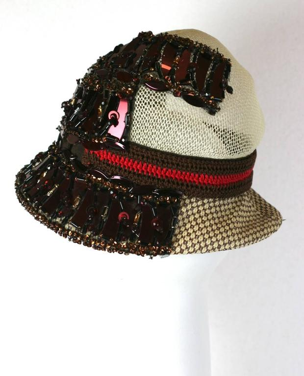 Prada Collectors Elaborate Beaded and Aplique Cloche Hat, Spring 2005 2