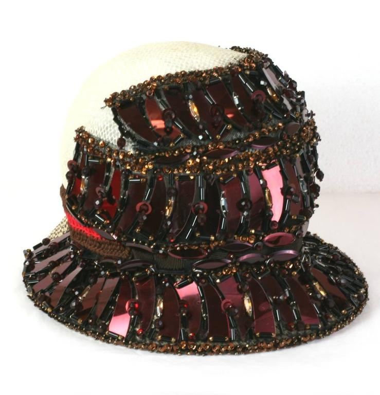 Prada Collectors Elaborate Beaded and Aplique Cloche Hat, Spring 2005 5