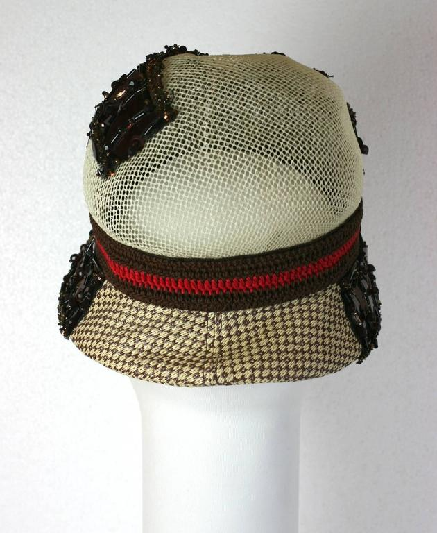 Prada Collectors Elaborate Beaded and Aplique Cloche Hat, Spring 2005 4
