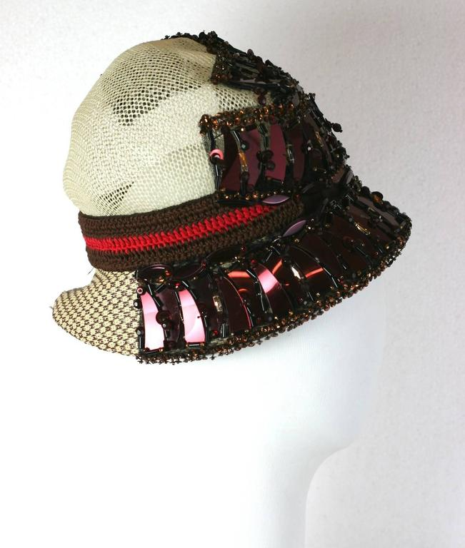 Prada Collectors Elaborate Beaded and Aplique Cloche Hat, Spring 2005 3