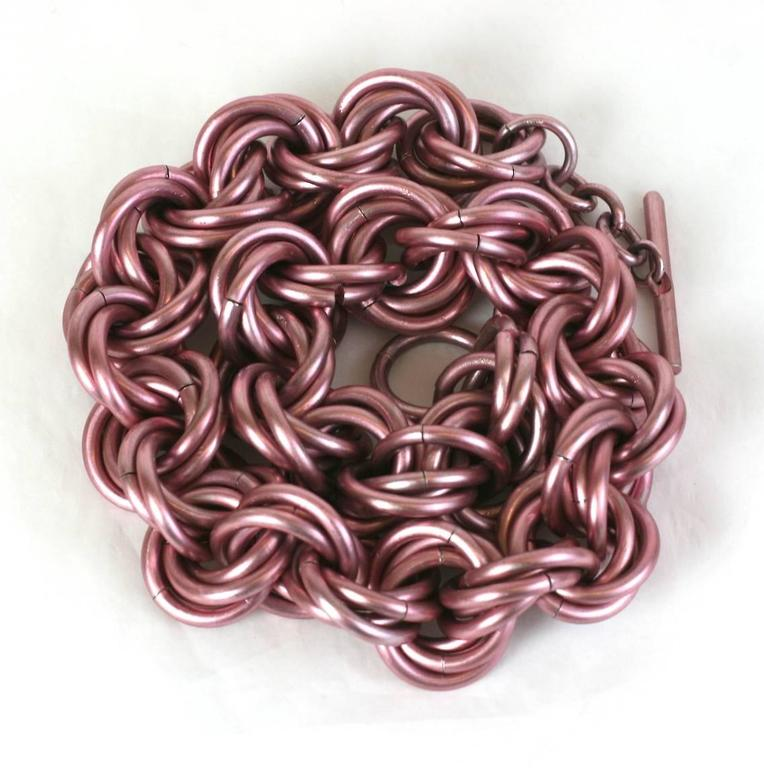 Anodized Pale Pink Link Chain Necklace 2