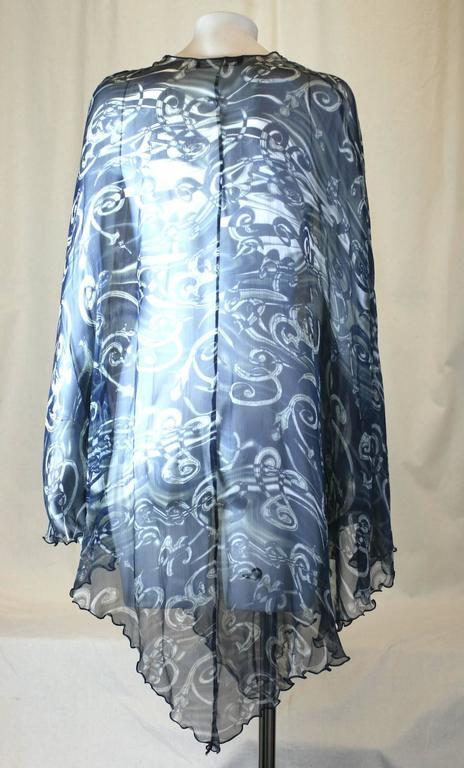 Gray Salvatore Ferragamo Silk Chiffon Poncho For Sale